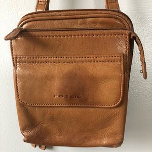 Fossil Small Genuine Leather Tan Shoulder Bag